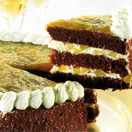 Recette du Gâteau au chocolat et aux mangues